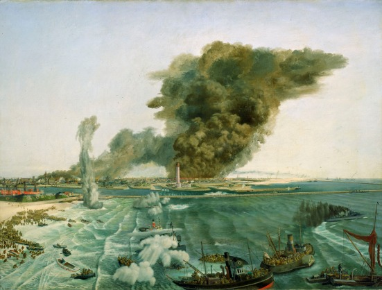 Withdrawal from Dunkirk, June 1940, a painting of the NMM Collection.
